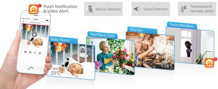 IC-7113W Smart HD Wi-Fi Pan/Tilt Network Camera with Temperature & Humidity Sensor, Day & Night, Free App, easy 3-step setup, EdiView II App